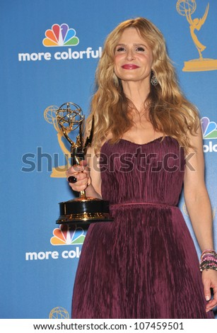 LOS ANGELES, CA - AUGUST 29, 2010: The Closer star Kyra Sedgwick at the 2010 Primetime Emmy Awards at the Nokia Theatre L.A. Live in downtown Los Angeles.