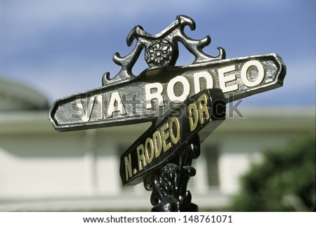 LOS ANGELES, CA - CIRCA 1990's: Close-up of street sign for Rodeo Drive and Via Rodeo Drive in Beverly Hills, CA - stock photo