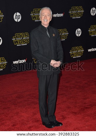 """LOS ANGELES, CA - DECEMBER 14, 2015: Actor Anthony Daniels at the world premiere of """"Star Wars: The Force Awakens"""" on Hollywood Boulevard - stock photo"""