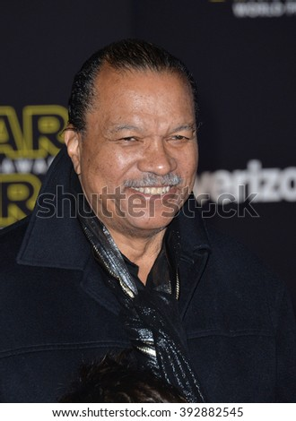 """LOS ANGELES, CA - DECEMBER 14, 2015: Actor Billy Dee Williams at the world premiere of """"Star Wars: The Force Awakens"""" on Hollywood Boulevard - stock photo"""