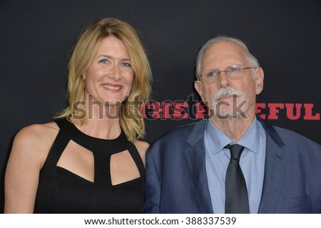 "LOS ANGELES, CA - DECEMBER 7, 2015: Actor Bruce Dern & actress daughter Laura Dern at the world premiere of Quentin Tarantino's ""The Hateful Eight"" at the Cinerama Dome, Hollywood - stock photo"