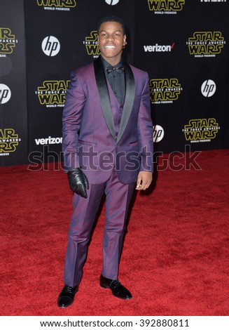 """LOS ANGELES, CA - DECEMBER 14, 2015: Actor John Boyega at the world premiere of """"Star Wars: The Force Awakens"""" on Hollywood Boulevard - stock photo"""