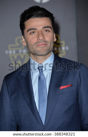 """LOS ANGELES, CA - DECEMBER 14, 2015: Actor Oscar Isaac at the world premiere of """"Star Wars: The Force Awakens"""" on Hollywood Boulevard - stock photo"""
