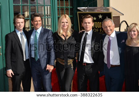 LOS ANGELES, CA - DECEMBER 8, 2015: Actor Rob Lowe with wife Sheryl Berkoff, sons Edward & John, & his parents at Lowe's star ceremony on Hollywood Walk of Fame.