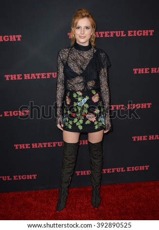 """LOS ANGELES, CA - DECEMBER 7, 2015: Actress Bella Thorne at the premiere """"The Hateful Eight"""" - stock photo"""