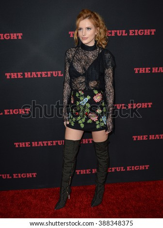 """LOS ANGELES, CA - DECEMBER 7, 2015: Actress Bella Thorne at the world premiere of Quentin Tarantino's """"The Hateful Eight"""" at the Cinerama Dome, Hollywood - stock photo"""
