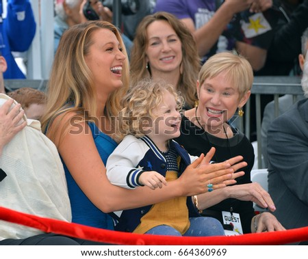LOS ANGELES, CA - DECEMBER 15, 2016: Actress Blake Lively & daughter James Reynolds (2) & Tammy Reynolds (Ryan's mother) at the Hollywood Walk of Fame Star Ceremony honoring Ryan Reynolds.