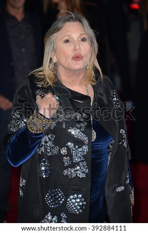 """LOS ANGELES, CA - DECEMBER 14, 2015: Actress Carrie Fisher at the world premiere of """"Star Wars: The Force Awakens"""" on Hollywood Boulevard - stock photo"""