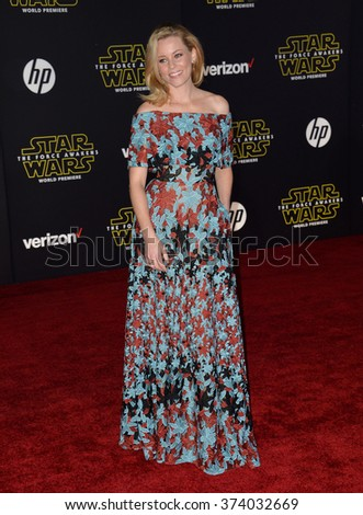 "LOS ANGELES, CA - DECEMBER 14, 2015: Actress Elizabeth Banks at the world premiere of ""Star Wars: The Force Awakens"" on Hollywood Boulevard. Picture: Paul Smith / Featureflash - stock photo"