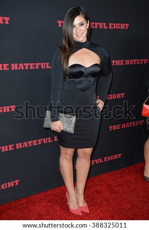 "LOS ANGELES, CA - DECEMBER 7, 2015: Actress Gina Field at the world premiere of Quentin Tarantino's ""The Hateful Eight"" at the Cinerama Dome, Hollywood - stock photo"