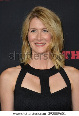 """LOS ANGELES, CA - DECEMBER 7, 2015: Actress Laura Dern at the premiere """"The Hateful Eight"""" - stock photo"""
