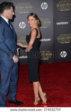 "LOS ANGELES, CA - DECEMBER 14, 2015: Actress Sofia Vergara & husband Joe Manganiello at the world premiere of ""Star Wars: The Force Awakens"" on Hollywood Boulevard. Picture: Paul Smith / Featureflash - stock photo"