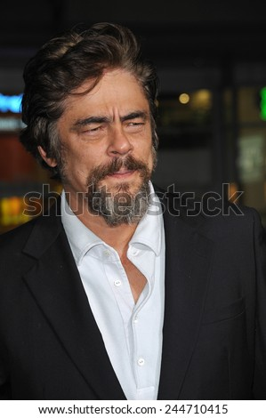 "LOS ANGELES, CA - DECEMBER 10, 2014: Benicio Del Toro at the Los Angeles premiere of his movie ""Inherent Vice"" at the TCL Chinese Theatre, Hollywood.  - stock photo"