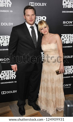 "LOS ANGELES, CA - DECEMBER 10, 2012: Chris Pratt & wife Anna Faris at the premiere of his movie ""Zero Dark Thirty"" at the Dolby Theatre, Hollywood. - stock photo"