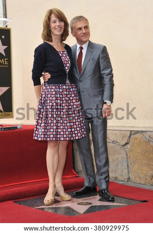 LOS ANGELES, CA - DECEMBER 1, 2014: Christoph Waltz & wife Judith Holste at Hollywood Walk of Fame ceremony honoring Christoph Waltz with the 2,536th star on the Walk of Fame. - stock photo