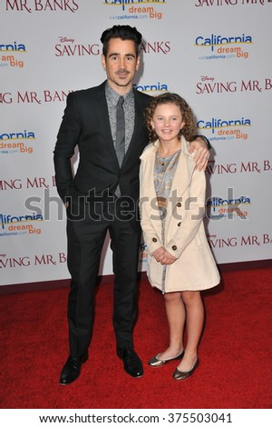 "LOS ANGELES, CA - DECEMBER 9, 2013: Colin Farrell & Annie Rose Buckley at the US premiere of their movie ""Saving Mr Banks"" at Walt Disney Studios, Burbank.  - stock photo"