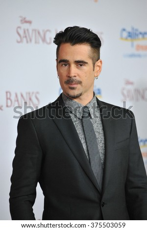"LOS ANGELES, CA - DECEMBER 9, 2013: Colin Farrell at the US premiere of his movie ""Saving Mr Banks"" at Walt Disney Studios, Burbank.  - stock photo"
