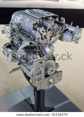 LOS ANGELES, CA. - DECEMBER 3: Exposed Chevrolet 4 cylinder internal combustion engine on display during the 2009 Los Angeles Auto Show at L.A. Convention Center on December 3, 2009 in Los Angeles - stock photo