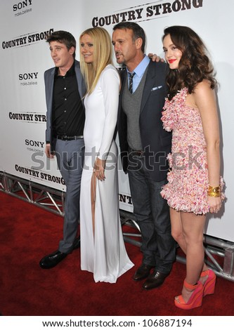 "LOS ANGELES, CA - DECEMBER 14, 2010: Garrett Hedlund, Gwyneth Paltrow, Tim McGraw & Leighton Meester at the premiere of ""Country Strong"" at the Academy of Motion Picture Arts & Sciences Theatre."