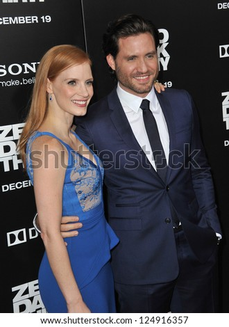 "LOS ANGELES, CA - DECEMBER 10, 2012: Jessica Chastain & Edgar Ramirez at the premiere of their movie ""Zero Dark Thirty"" at the Dolby Theatre, Hollywood."