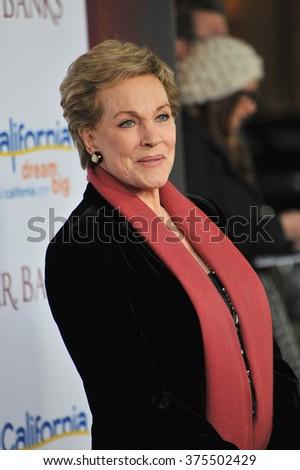 "LOS ANGELES, CA - DECEMBER 9, 2013: Julie Andrews at the US premiere of ""Saving Mr Banks"" at Walt Disney Studios, Burbank.  - stock photo"