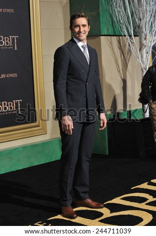 "LOS ANGELES, CA - DECEMBER 9, 2014: Lee Pace at the Los Angeles premiere of his movie ""The Hobbit: The Battle of the Five Armies"" at the Dolby Theatre, Hollywood.  - stock photo"