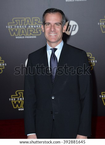 "LOS ANGELES, CA - DECEMBER 14, 2015: Los Angeles Mayor Eric Garcetti at the world premiere of ""Star Wars: The Force Awakens"" on Hollywood Boulevard - stock photo"