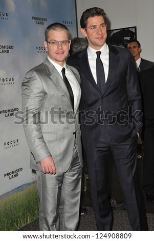 "LOS ANGELES, CA - DECEMBER 6, 2012: Matt Damon & John Krasinski (right) at the Los Angeles premiere of their new movie ""Promised Land"" at the Directors Guild Theatre. - stock photo"