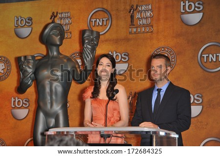 LOS ANGELES, CA - DECEMBER 17, 2009: Michelle Monaghan & Chris O'Donnell at the nominations for the 16th Annual Screen Actors Guild Awards. The SAG Awards will be presented on January 23rd 2010.  - stock photo