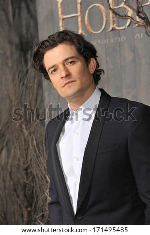 "LOS ANGELES, CA - DECEMBER 2, 2013: Orlando Bloom at the Los Angeles premiere of his movie ""The Hobbit: The Desolation of Smaug"" at the Dolby Theatre, Hollywood."