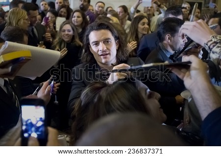 LOS ANGELES, CA - DECEMBER 9: Orlando Bloom at the premiere of The Hobbit: The Battle of the Five Armies December, 2014 at Kodak Theater in Los Angeles, California - stock photo
