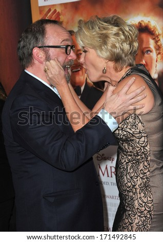 "LOS ANGELES, CA - DECEMBER 9, 2013: Paul Giamatti & Emma Thompson at the US premiere of their movie ""Saving Mr Banks"" at Walt Disney Studios, Burbank."