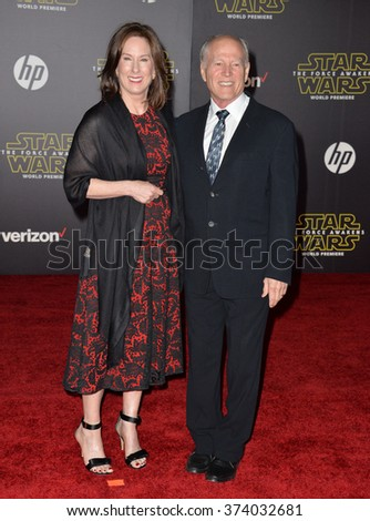 "LOS ANGELES, CA - DECEMBER 14, 2015: Producers Frank Marshall & Kathleen Kennedy at the world premiere of ""Star Wars: The Force Awakens"" on Hollywood Boulevard. Picture: Paul Smith / Featureflash - stock photo"