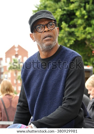 LOS ANGELES, CA - DECEMBER 1, 2014: Samuel L. Jackson at Hollywood Walk of Fame ceremony honoring Christoph Waltz with the 2,536th star on the Walk of Fame. - stock photo