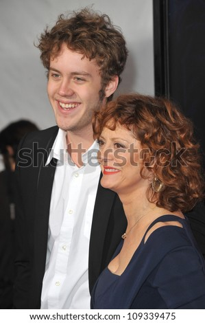 "LOS ANGELES, CA - DECEMBER 7, 2009: Susan Sarandon & son Jack Henry Robbins at the Los Angeles premier of her new movie ""The Lovely Bones"" at Grauman's Chinese Theatre, Hollywood."