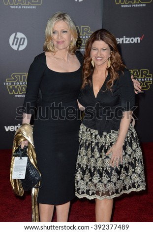 "LOS ANGELES, CA - DECEMBER 14, 2015: TV journalist Diane Sawyer & guest at the world premiere of ""Star Wars: The Force Awakens"" on Hollywood Boulevard"