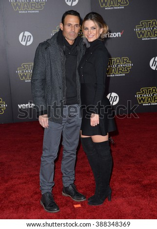 """LOS ANGELES, CA - DECEMBER 14, 2015: TV presenter Maria Menounos at the world premiere of """"Star Wars: The Force Awakens"""" on Hollywood Boulevard - stock photo"""