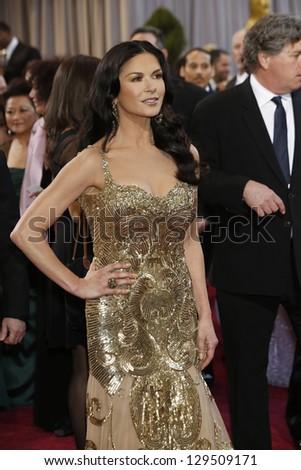LOS ANGELES, CA - FEB 24: Catherine Zeta Jones at the 85th Annual Academy Awards on February 24, 2013 in Los Angeles, California - stock photo