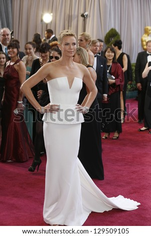 LOS ANGELES, CA - FEB 24: Charlize Theron at the 85th Annual Academy Awards on February 24, 2013 in Los Angeles, California - stock photo