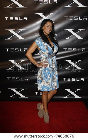 LOS ANGELES, CA - FEB 9: Elena Diaz at the Tesla Worldwide Debut of Model X on February 9, 2012 in Hawthorne, Los Angeles, California - stock photo
