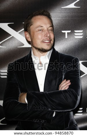 LOS ANGELES, CA - FEB 9: Elon Musk at the Tesla Worldwide Debut of Model X on February 9, 2012 in Hawthorne, Los Angeles, California - stock photo