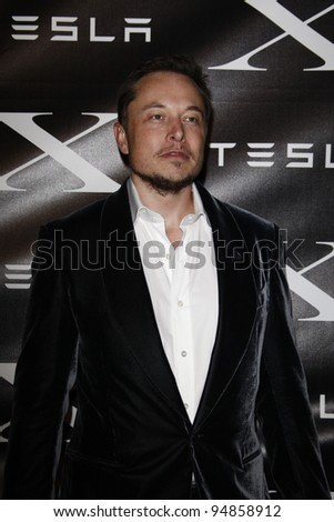 LOS ANGELES, CA - FEB 9: Elon Musk at the Tesla Worldwide Debut of Model X on February 9, 2012 in Hawthorne, Los Angeles, California