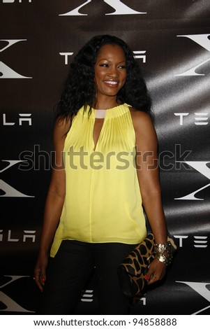 LOS ANGELES, CA - FEB 9: Garcelle Beauvais at the Tesla Worldwide Debut of Model X on February 9, 2012 in Hawthorne, Los Angeles, California - stock photo