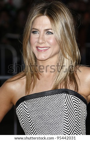 LOS ANGELES, CA - FEB 16: Jennifer Aniston at the premiere of Universal Pictures' 'Wanderlust' held at Mann Village Theatre on February 16, 2012 in Los Angeles, California - stock photo
