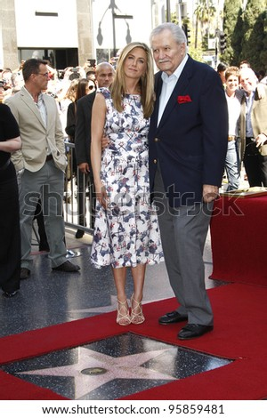 LOS ANGELES, CA - FEB 22: Jennifer Aniston; John Aniston at a ceremony where Jennifer Aniston is honored with a star on the Hollywood Walk of Fame on February 22, 2012 in Los Angeles, California