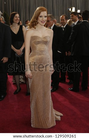 LOS ANGELES, CA - FEB 24: Jessica Chastain at the 85th Annual Academy Awards on February 24, 2013 in Los Angeles, California - stock photo