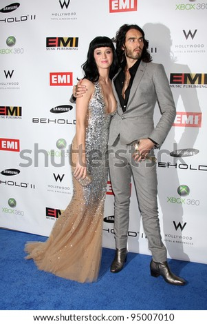 LOS ANGELES, CA - FEB 13: Katy Perry & Russell Brand at the EMI GRAMMY After-Party at Milk Studios on February 13, 2011 in Los Angeles, California - stock photo