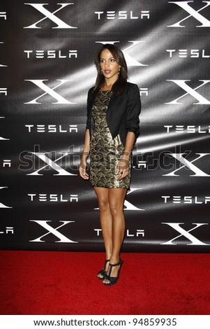 LOS ANGELES, CA - FEB 9: Megalyn Echikunwoke at the Tesla Worldwide Debut of Model X on February 9, 2012 in Hawthorne, Los Angeles, California - stock photo