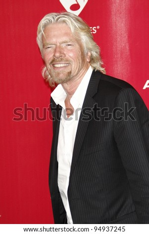 LOS ANGELES, CA - FEB 10: Richard Branson at the 2012 MusiCares Person of the Year Tribute To Paul McCartney at the LA Convention Center on February 10, 2012 in Los Angeles, California - stock photo
