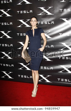 LOS ANGELES, CA - FEB 9: Summer Altice at the Tesla Worldwide Debut of Model X on February 9, 2012 in Hawthorne, Los Angeles, California - stock photo